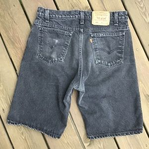 Levi's 550 Orange Tab, black denim shorts, Vintage